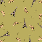 Paris seamless pattern with eiffel tower and croissant