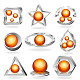 3d business abstract icons set. Chrome and orange.