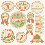 Vintage labels and ribbon retro style set. Vector design elements
