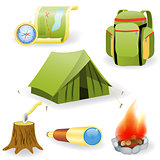 Vector illustration of camping collection