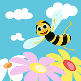 Flying bee. Vector illustration