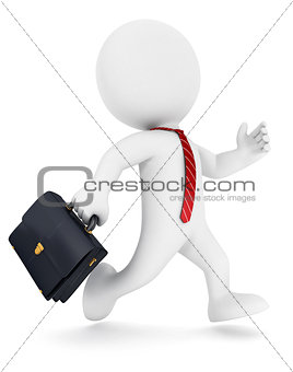 3d white people businessman running