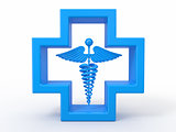 Healthcare and medical symbol. Caduseus in cross.