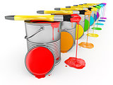 Paint can and paintbrush in colors of the rainbow.