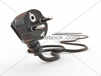 Black electric plug on white background