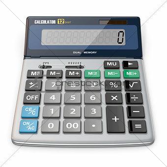 Calculator on white isolated background