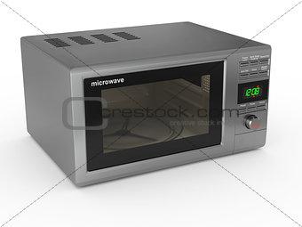 Closed metallic microwave. 3d
