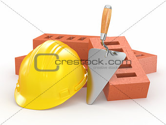 Bricks, hardhat and trowel. 3d