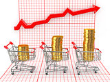 Sales growth. Shopping basket with coins