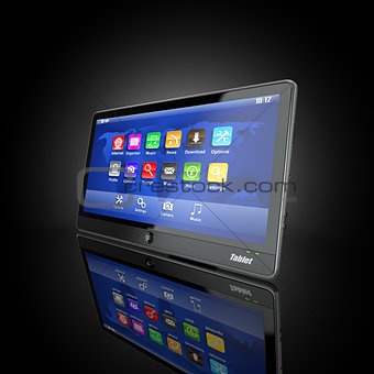 Black tablet pc on black background