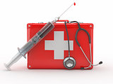First aid kit, syringe and stethscope