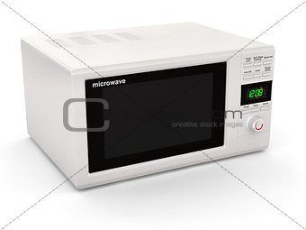 Closed white microwave. 3d