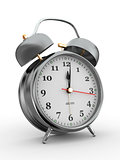 Midnight. Old-fashioned alarm clock. 3d