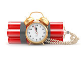 Countdown.  Time bomb with alarm clock detonator. Dynamit