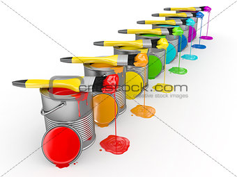 Paint can and paintbrush in colors of the rainbow. 3d