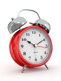Ten o'clock. Old-fashioned alarm clock. 3d