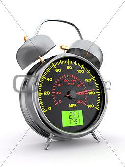 Speeding. Speedometer as alarm clock face