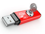 Data security. Usb flash memory and key. 3d