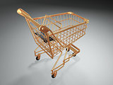 Empty shopping basket. 3d
