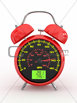 Speeding. Speedometer as alarm clock face
