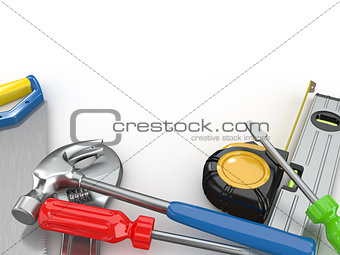 Tools. Hammer, screwdriver, wrench and other