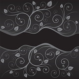 Luxury black and silver leaves and swirls borders