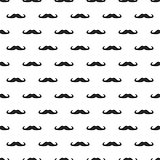 Seamless vector pattern, background or texture with black curly vintage retro gentleman mustaches on white background