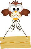 Owl holding wooden sign