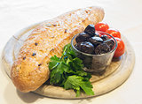 Bread with olives and tomatoes