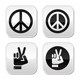 Peace, hand gesture vector buttons set