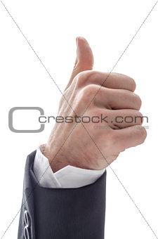 Business man with thumb up sign