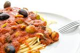 Detail of spaghetti with tomato sauce