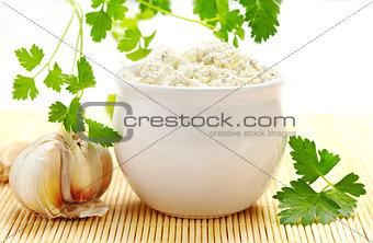 fresh cream cheese with garlic and parsley