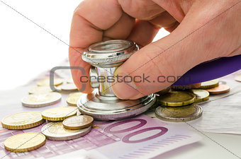 Stethoscope on European currency