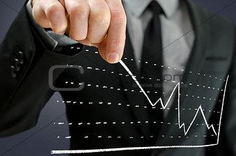 Businessman pulling graph upwards