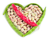organic string beans on white background