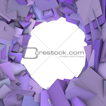 circular abstract purple spiked shape on white