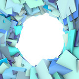 circular abstract blue spiked shape on white