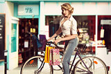vintage sexy girl shopping with bicycle