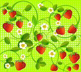 strawberry on green