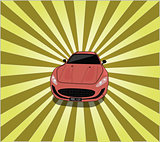 Sports Car with Rays Background