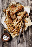 Roasted Chicken and French Fries