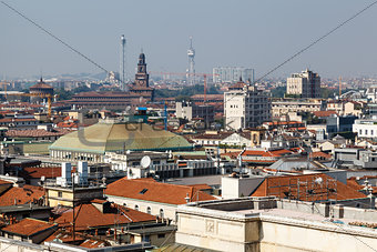 Aerial View on Milan from the Roof of Cathedral, Italy