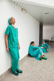 Three surgeons taking break