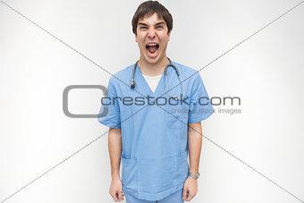 Male nurse is screaming