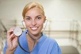 Nurse holding a stethoscope
