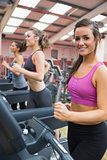 Happy women in the gym
