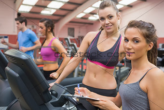 Smiling women in gym