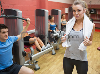 Female trainer teaching her fitn