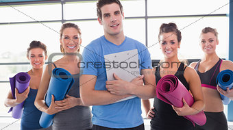 Yoga class with their trainer